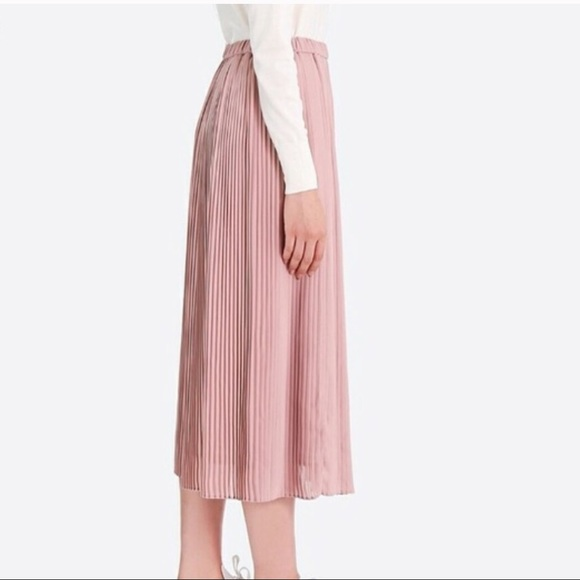 f276888180 Uniqlo Skirts | High Waisted Chiffon Pleated Skirt In Pink | Poshmark